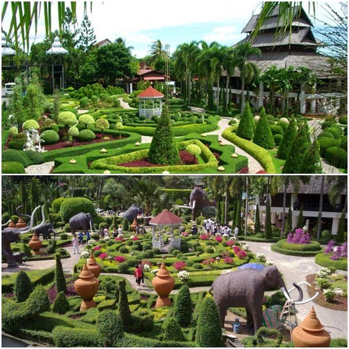 Le jardin Nong Nooch en Thaïlande.